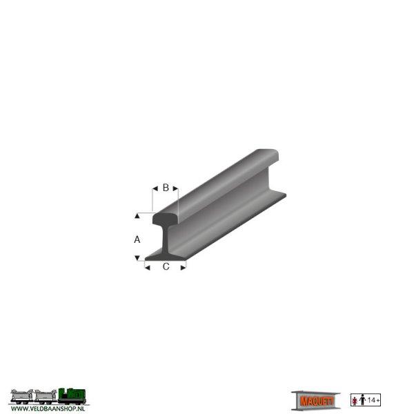 MAQUETT 460-51/3 staalgrijs spoorrails profiel - 33 cm. -