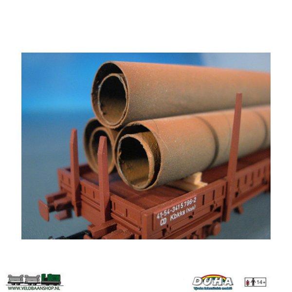 DUHA 11218 Rohre, rostig, 6 Stück, 145x27x25 mm H0