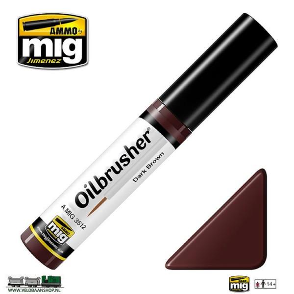 MIG 3512 Ammo MIG Jimenez Oilbrusher Dark Brown Veldbaanshop.nl