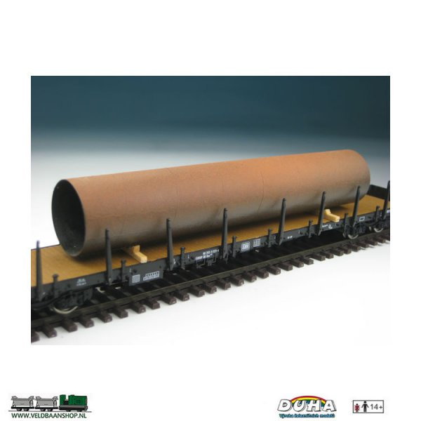 DUHA 11217 Rohr, rostig, gross 145x30x30 mm H0