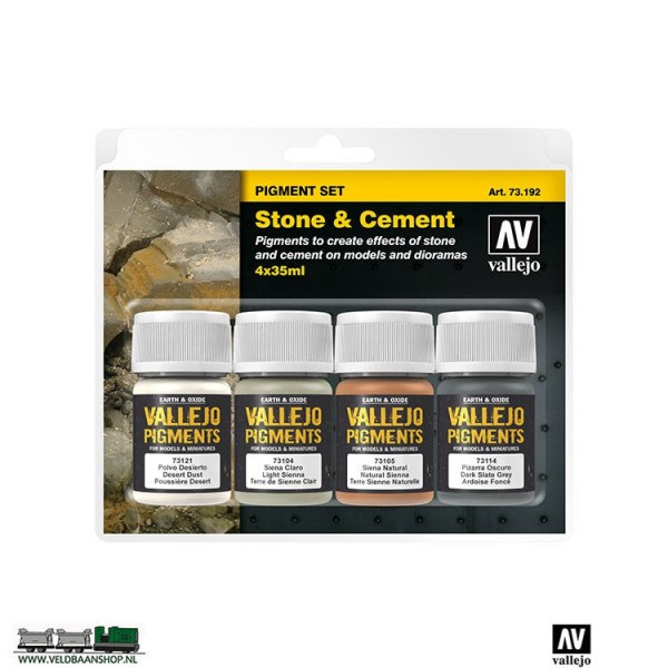 Vallejo 73192 Stone and Cement Pigment set van 4 Veldbaanshop.nl