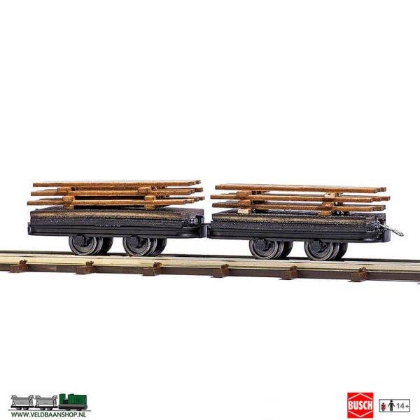 Busch 12218 twee wagens met houten lading H0f