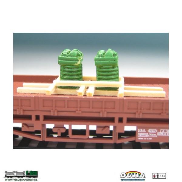 DUHA 11330A 2 Zylinderköpfe auf Holzgestell H0 Veldbaanshop.nl