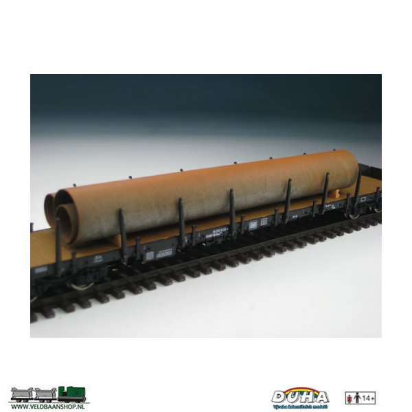 DUHA 11216 Rohre, rostig, 3 Stück 145x30x20 mm H0