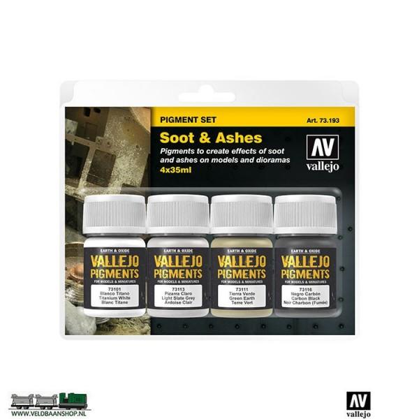 Vallejo 73193 Pigment Set Soot & Ashes set van 4 Veldbaanshop.nl