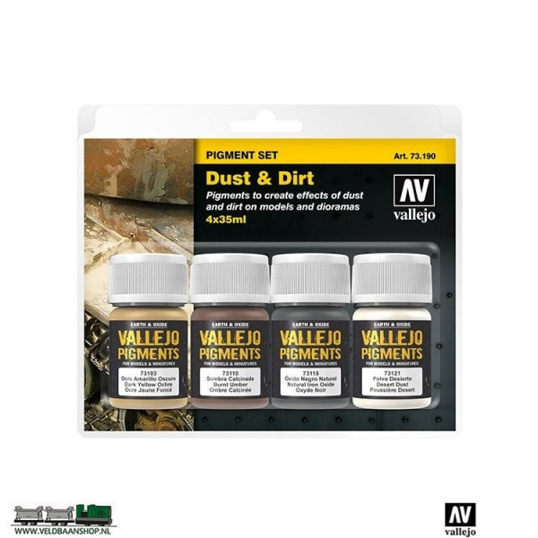 Vallejo 73190 Pigment Set Mud and Sand set van 4 Veldbaanshop.nl