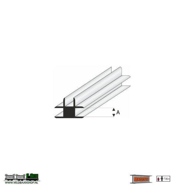 MAQUETT 447-55/3 profiel: T- verbindings profiel wit styreen open