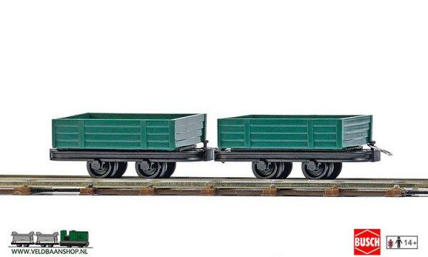 Busch 12206 veldspoor Open goederenwagens 2 stuks H0f
