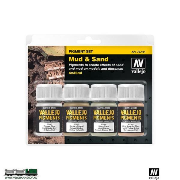 Vallejo 73191 Pigment Set Mud and Sand set van 4 Veldbaanshop.nl