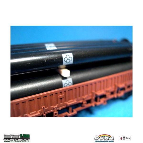 DUHA 44/11325 Rohre, schwarz mit Flansch, 111x29x20mm H0