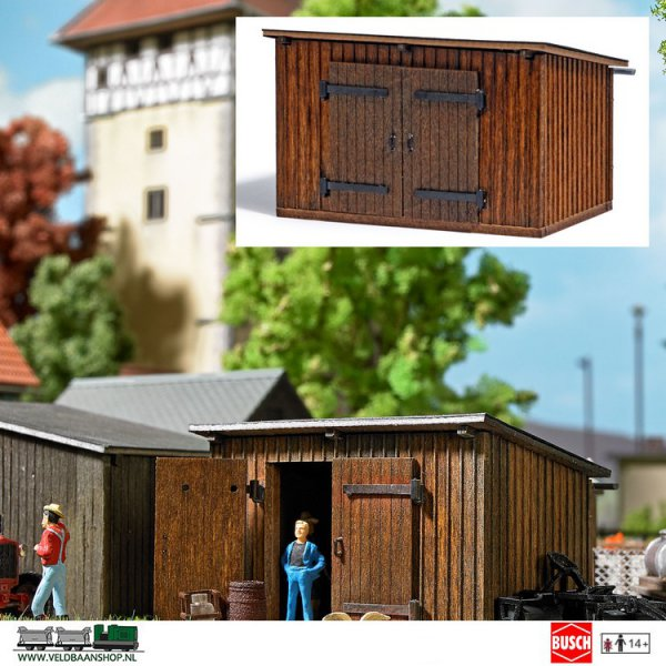 Busch 1594 schuur hout H0 houten schuur in model met schuin dak en een houten deu