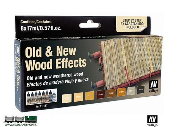 Vallejo 71187 Model Air Color Set Old & New wood effects Veldbaanshop.nl