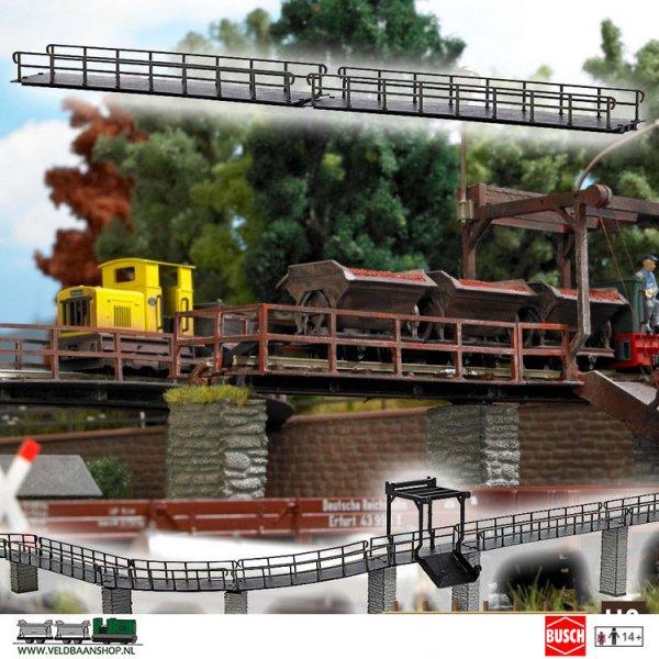 Busch 12385 veldspoor bruggen recht 2 stuks