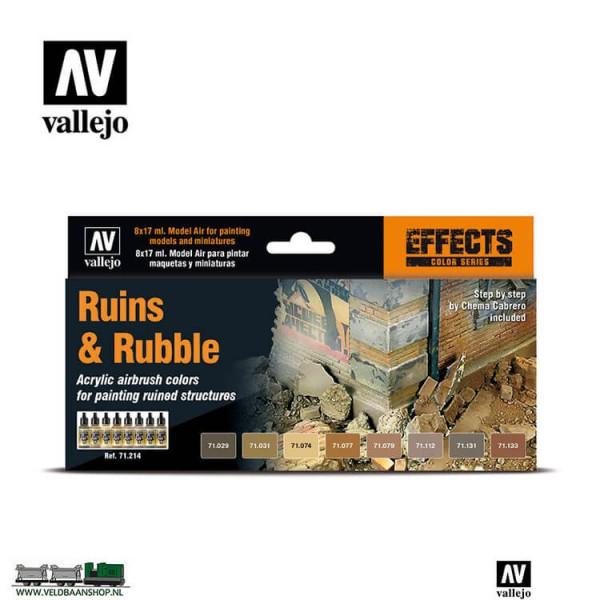 Vallejo 71214 Model Air Color Set Ruins en Rubble 8 kleuren 17ml