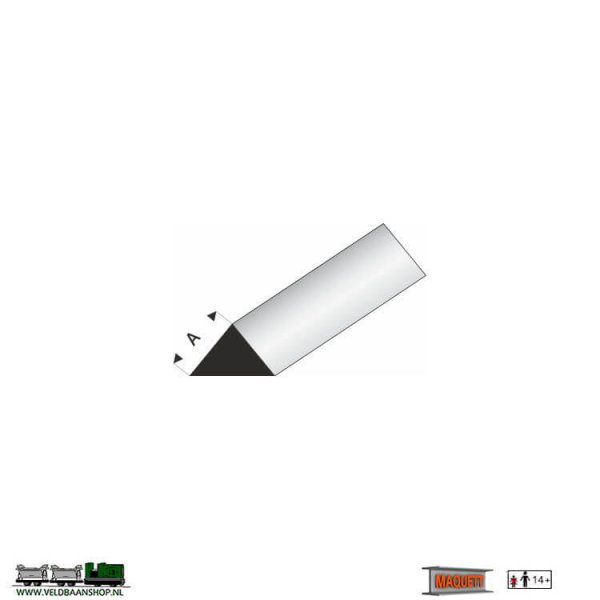 MAQUETT 405-54/3 profiel wit styreen : driehoek 90 grd. massief