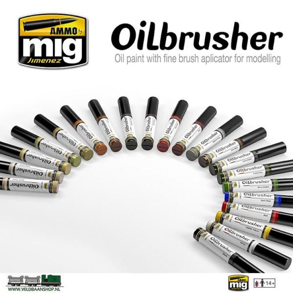 MIG OilCOL Ammo MIG Jimenez Oilbrusher set van 21 Veldbaanshop.nl