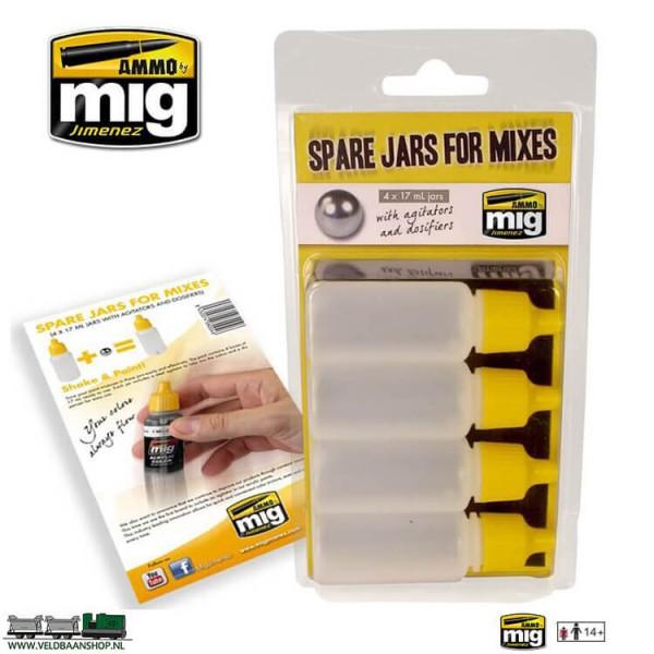 MIG 8004 reserveflesjes met kogel en druppelaar.