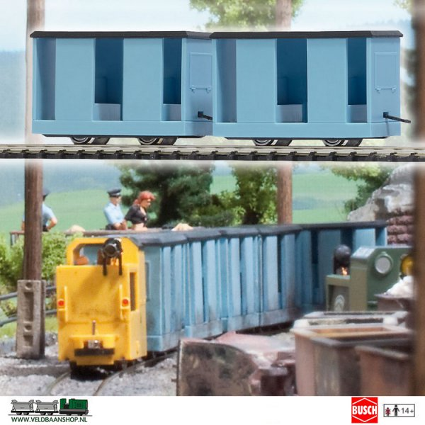 Busch 5027 Mijnbouw Manschapwagen blauw 2 Stuks