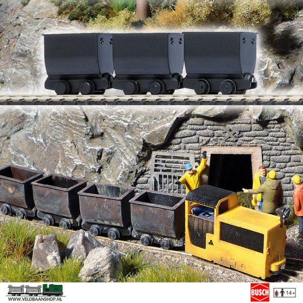 Busch 5021 Mijnbouw Lorries Zwart 3 Stuks H0f
