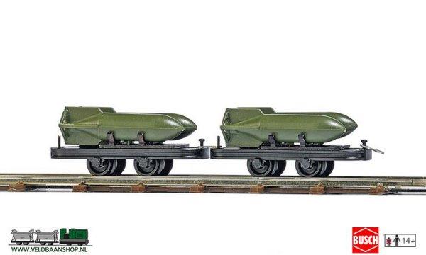 Busch 12209 veldspoor Wagens + bommen H0 Veldbaanshop.nl
