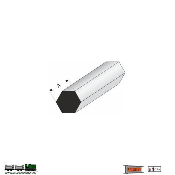 MAQUETT 406-55/3 profiel wit styreen : zeskant (hexa) massief