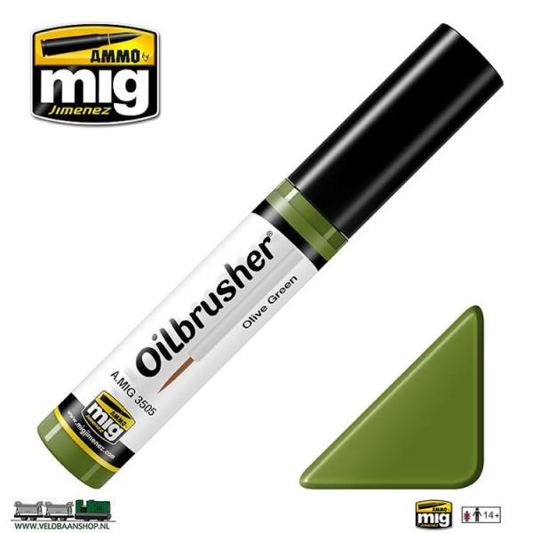 MIG 3505 Ammo MIG Jimenez Oilbrusher Olive Green Veldbaanshop.nl