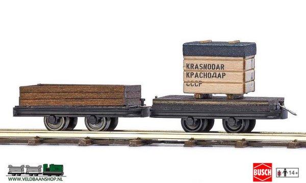 Busch 12207 veldspoor Transportwagen 2 stuks H0f