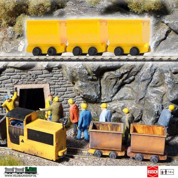 Busch 5020 Mijnbouw Lorries Geel 3 Stuks H0f